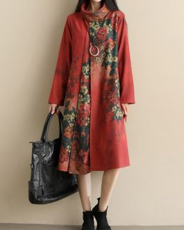 High Collar Long Sleeve Print Dress
