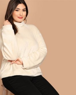 High Neck Zipper Back Sweatshirts Women Autumn Winter Pullover