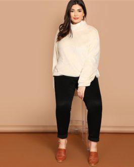 High Neck Zipper Back Sweatshirts Women Autumn Winter Pullover