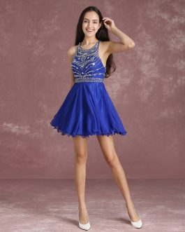 Illusion Beading Prom Dresses Royal Blue Sleeveless Short Cocktail Dress