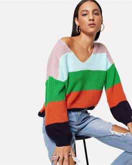Jumper Preppy Colorblock V Neck Bishop Sleeve PulloversSweater Women Autumn Sweaters