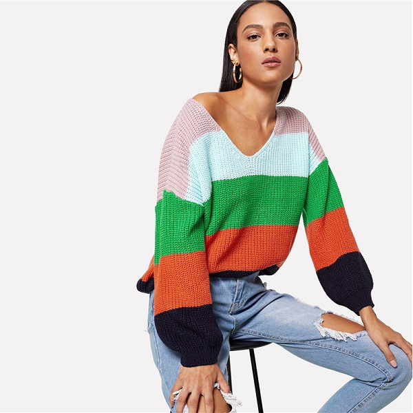 1337fdfcfd Jumper Preppy Colorblock V Neck Bishop Sleeve PulloversSweater Women Autumn  Sweaters