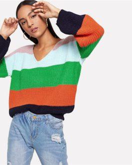 Jumper Preppy Colorblock V Neck Bishop Sleeve PulloversSweater Women Autumn Sweaters