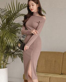 Khaki Sweater Dress Long Sleeve Asymeetrical Neck Knit Bodycon Dress