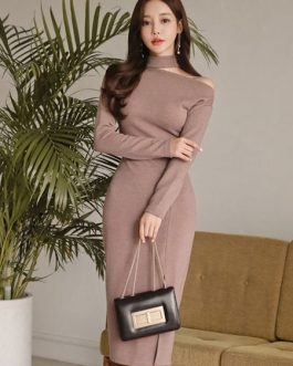Khaki Sweater Dress Long Sleeve Asymeetrical Neck Knit Bodycon Dress