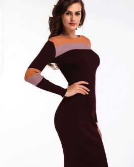 Knit Bodycon Dress Long Sleeve Round Neck Color Block Fall Dress