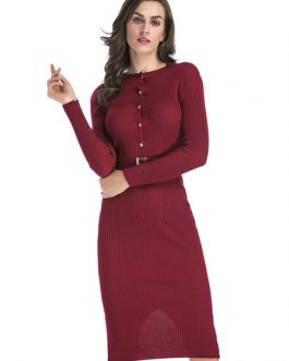 Knit Sweater Dress Long Sleeve Dress Round Neck Split Shaping Midi Dress