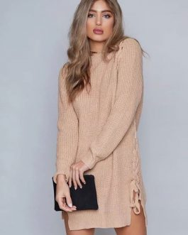 Knitted Mini Dress Long Sleeve Lace Up Khaki Sweater Dress