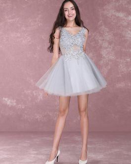 Lace Flowers Short Prom Dresses V Neck Tulle Mini Party Dress