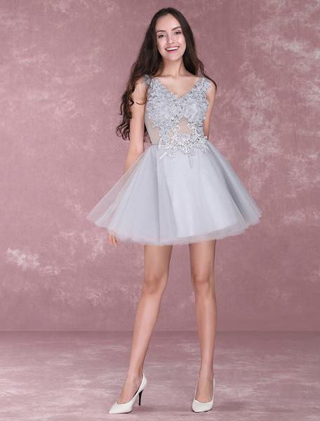 f5738801b4 Lace Flowers Short Prom Dresses V Neck Tulle Mini Party Dress ...
