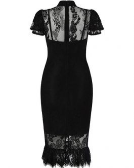 Lace Party Dress High Collar Bodycon Dress Short Sleeve Split Shaping Midi Dress