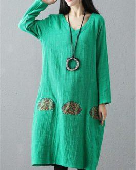 Lantern Embroidery Loose Dress