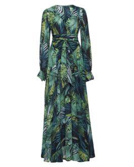 Lantern Sleeve V-neck Leaf Print Dress