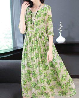 Leaves Printed Pleated Long Dress