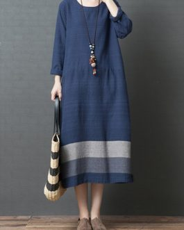Linen Striped Patchwork Long Sleeve Dress