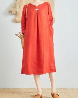 Linen V-Neck Long Sleeve Dress