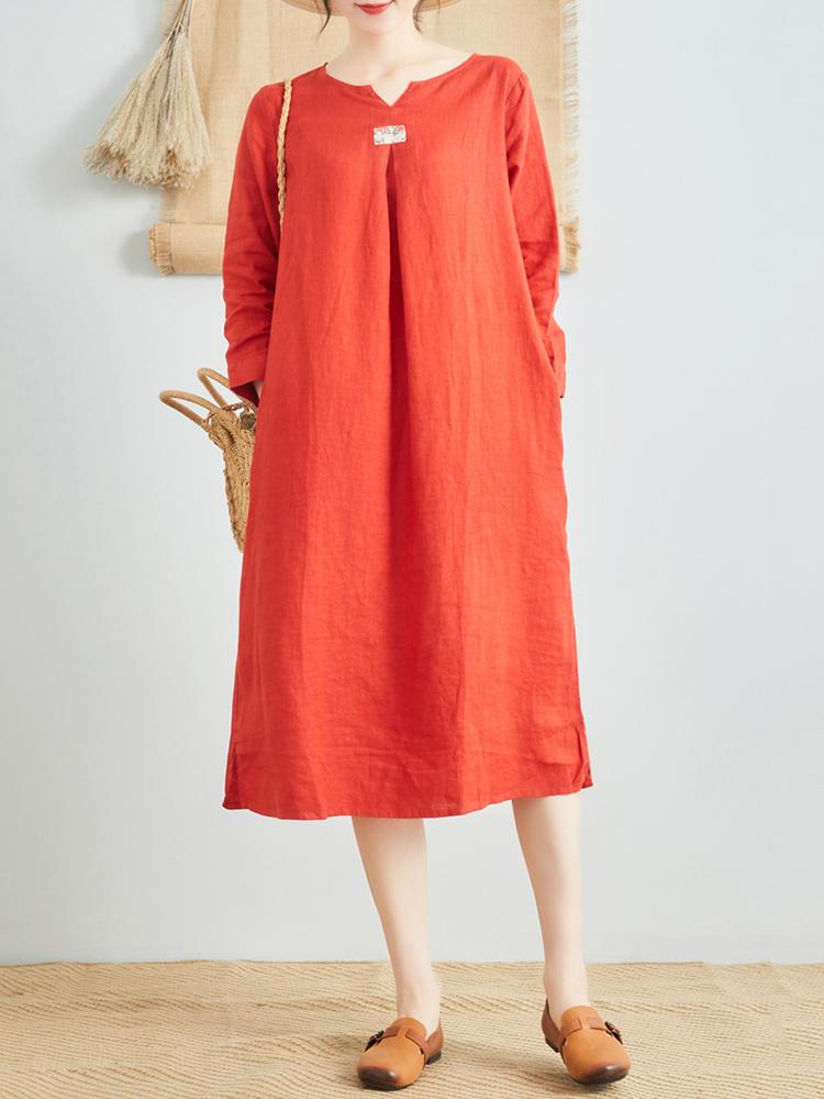Linen V Neck Long Sleeve Dress