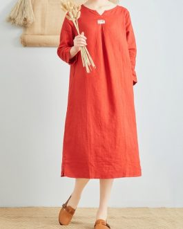 Linen V-Neck Long Sleeve Dress