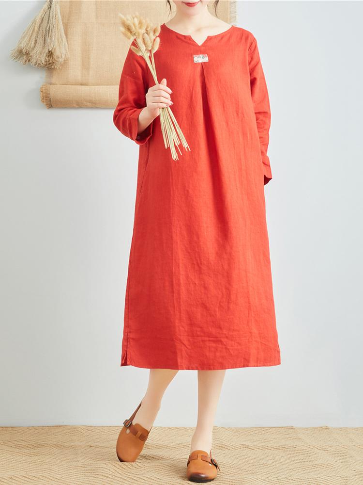 Linen V Neck Long Sleeve Dress1