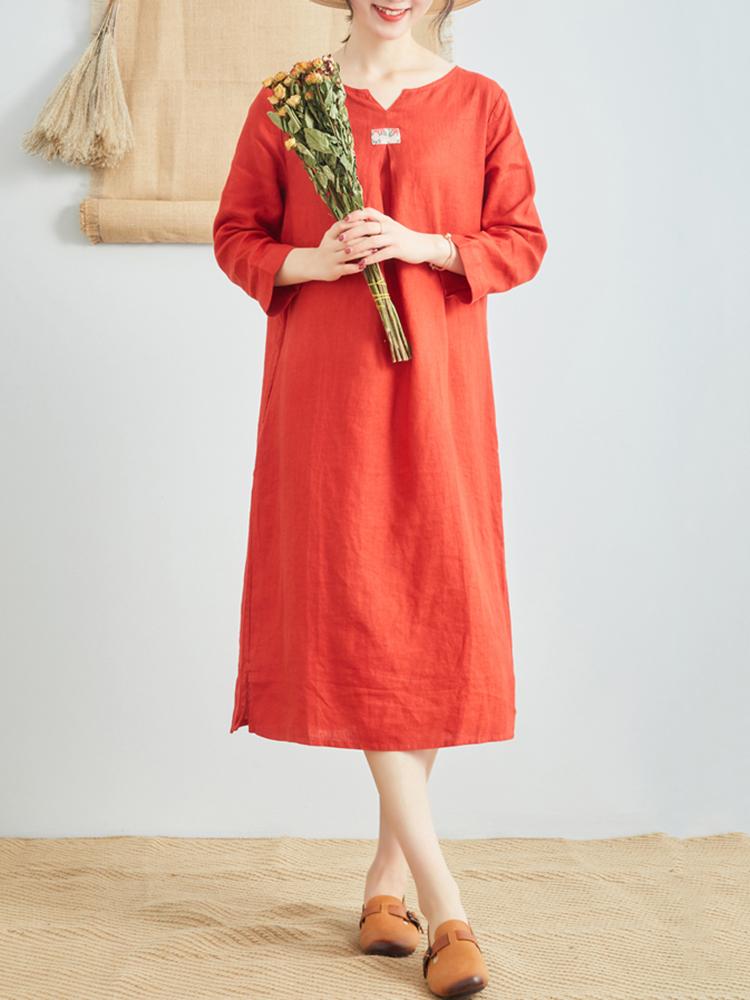 Linen V Neck Long Sleeve Dress2