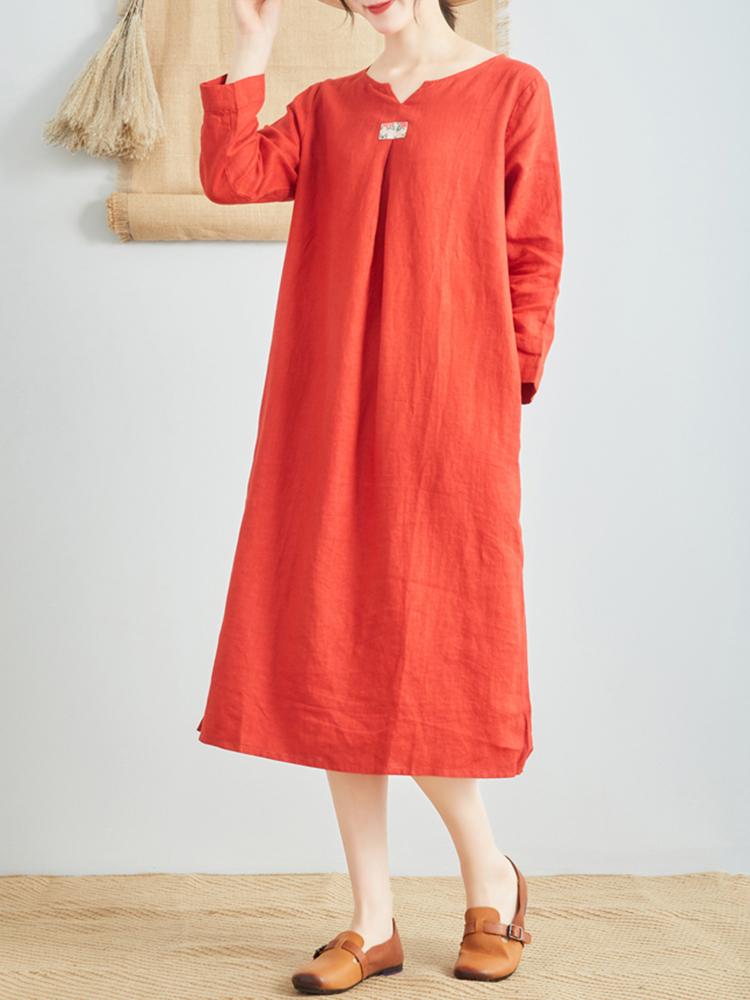Linen V Neck Long Sleeve Dress3