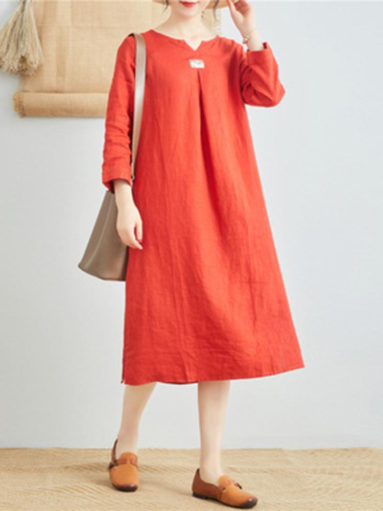 Linen V Neck Long Sleeve Dress4