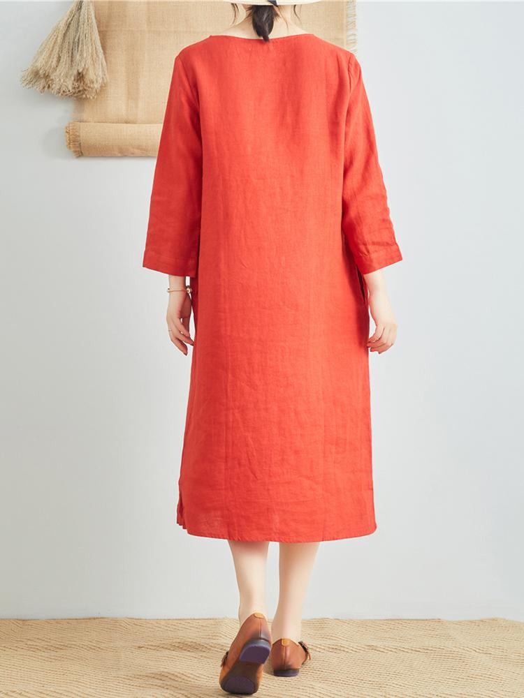 Linen V Neck Long Sleeve Dress5