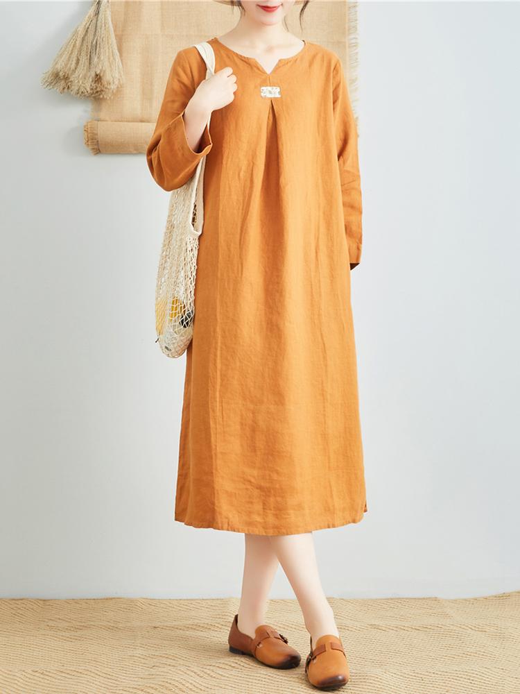 Linen V Neck Long Sleeve Dress6