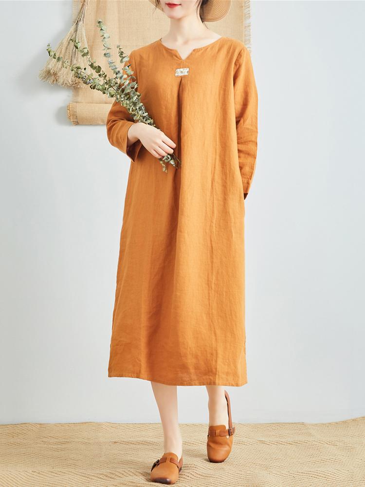 Linen V Neck Long Sleeve Dress7