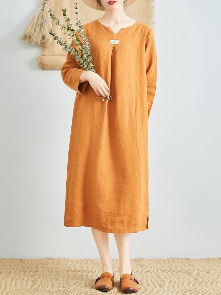 Linen V Neck Long Sleeve Dress8