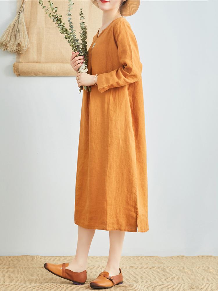 Linen V Neck Long Sleeve Dress9
