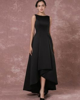 Long Backless Evening Dress Taffeta High Low Pleated Party Dress