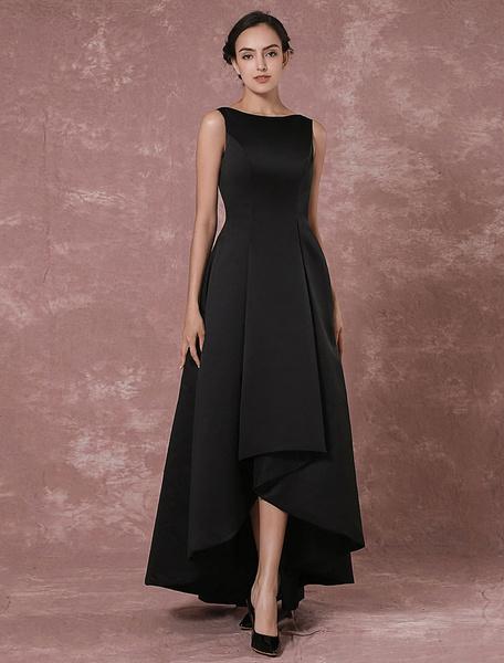 Long backless evening dress taffeta high low pleated party dress power day sale - Milanoo abendkleider ...