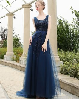 Long Prom Dresses V Neck Backless Lace Beading A Line Tulle Formal Dresses With Train
