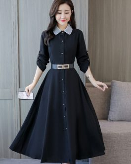 Long Sleeve  Buttons Solid Color Fall Shirt Dress