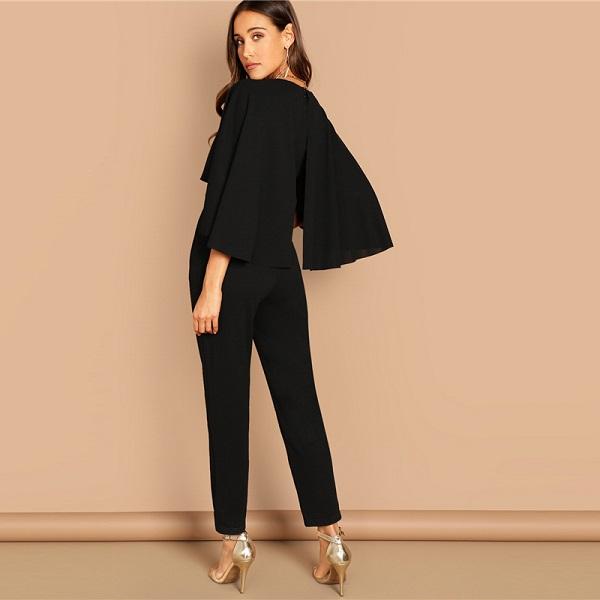 Elegant V Neck Solid Cape Long Sleeve Cloak Sleeve Jumpsuit