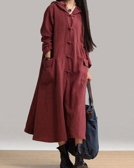 Long Sleeve Plate Buckles Pocket Hooded Maxi Dress