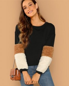 Long Sleeve Round Neck Sweatshirt Women Autumn Colorblock Sweatshirts