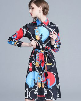 Long Sleeve Shirt Dress Turndown Collar Printed Midi Dress