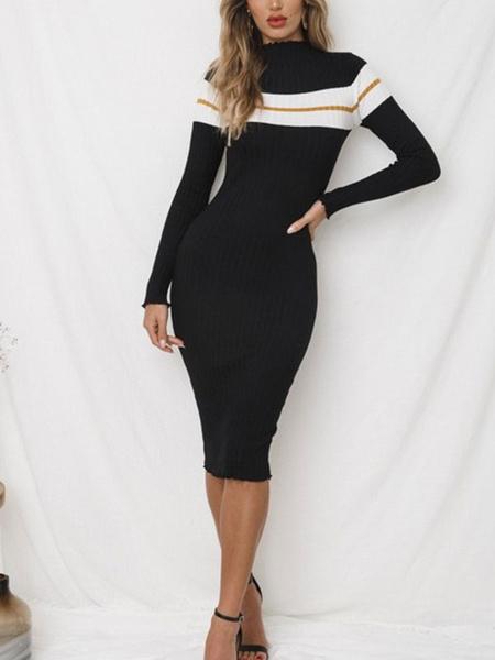 100225323b7 Long Sleeve Sweater Dress Crewneck Striped Shaping Knit Midi Dress ...