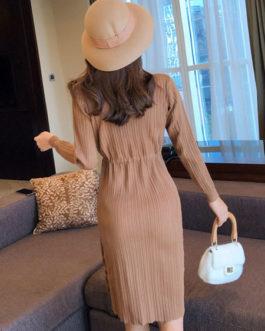 Long Sleeve Sweater Dress High Collar Ruffles Knit Shaping Midi Dress