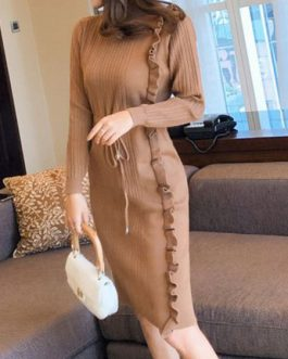 Long Sleeve Sweater Dress High Collar Ruffles Knit Shaping Midi Dress