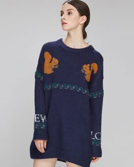 Long Sleeve Sweater Dress Round Neck Animal Letters Print Deep Blue Knit Dress
