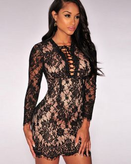 Long Sleeves Lace Club Dress