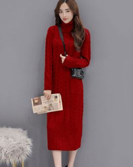 Long Sweater Dress Long Sleeve Dress Turtleneck Pockets Shaping Knit Dress