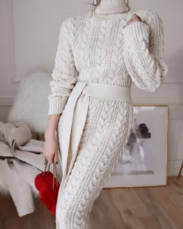 Long Sweater Dress Turtleneck Long Sleeve Sash Knit Dress