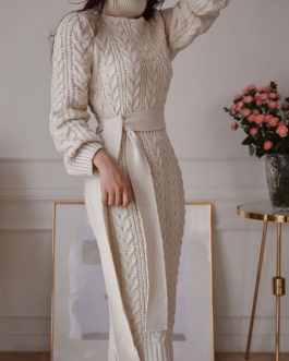 Long Sweater Dress Turtleneck Long Sleeve Sash Knit Dress