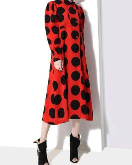 Long-sleeved Turn Down Collar Dresses