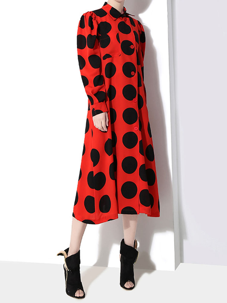 Long sleeved Turn Down Collar Dresses