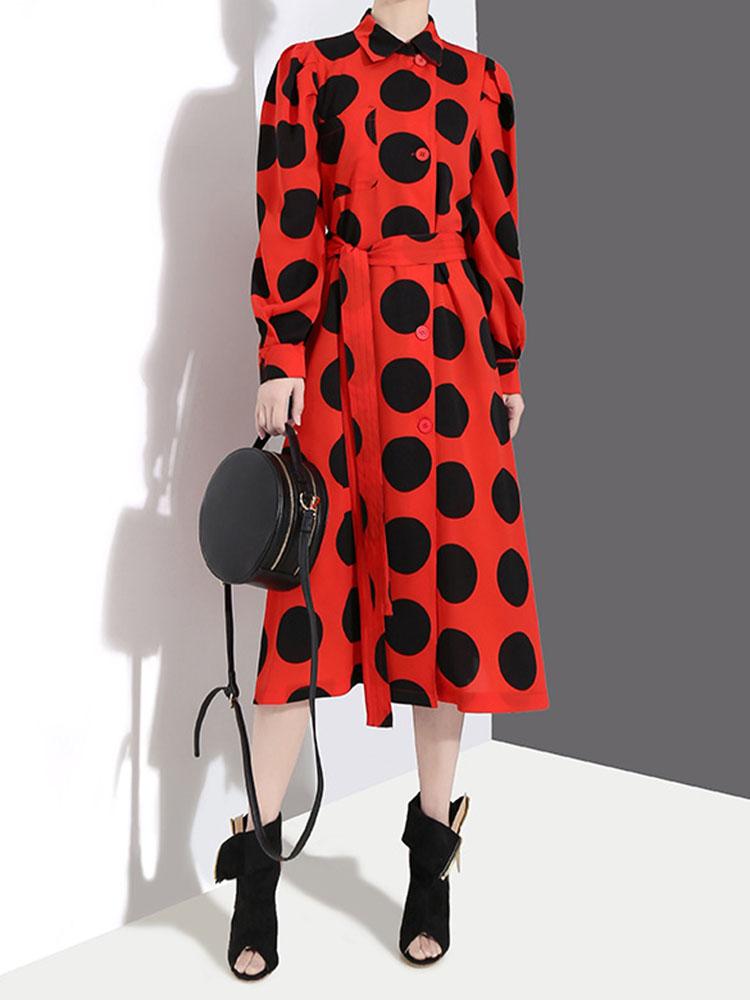 Long sleeved Turn Down Collar Dresses1